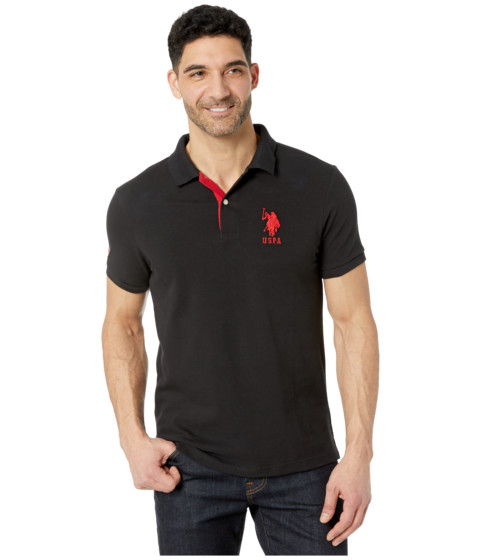 U.S. POLO ASSN. - Slim Fit Big Horse Polo w/ Stripe Collar (Black) Men's Short Sleeve Pullover
