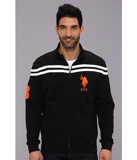 U.S. POLO ASSN. - Chest Stripe Track Jacket (Black) Men's Coat