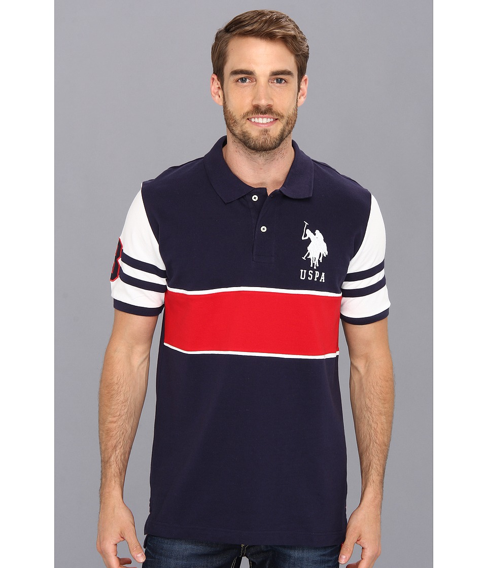 U.S. POLO ASSN. - Big Pony Chest Stripe Polo (Classic Navy) Men's Short Sleeve Pullover
