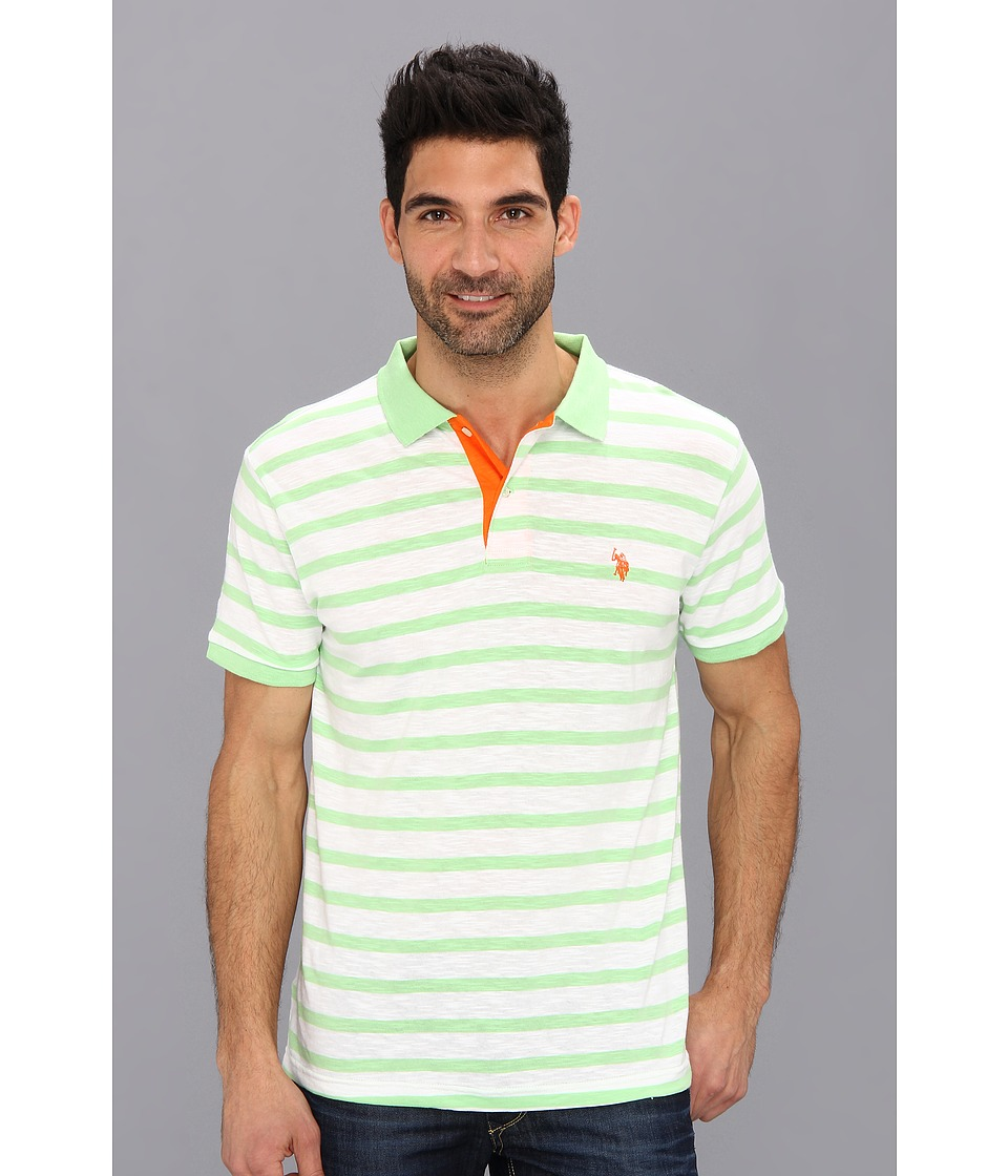 U.S. POLO ASSN. - Stripe Slub Polo (Summer Green) Men's Short Sleeve Knit