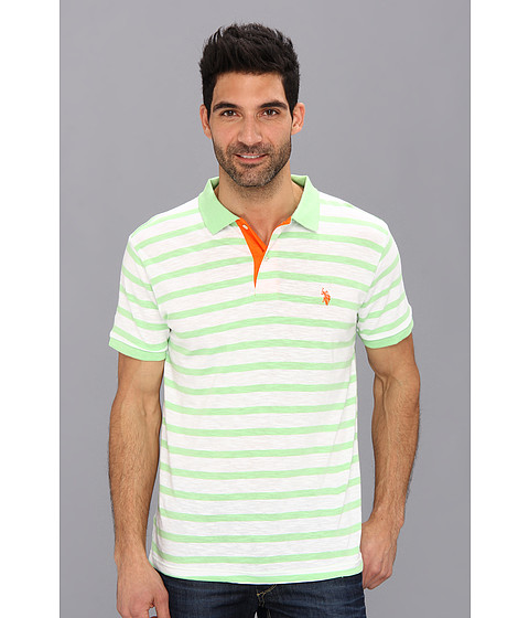 U.S. POLO ASSN. - Stripe Slub Polo (Summer Green) Men