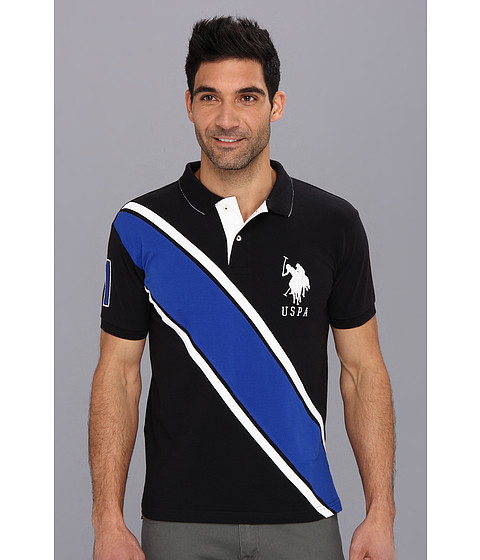 U.S. POLO ASSN. - Slim Fit Diagonal Stripe Polo with Big Pony (Black) Men