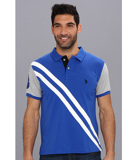 U.S. POLO ASSN. - Small Pony Diagonal Stripe Polo w/ Solid Sleeve (Cobalt Blue) Men
