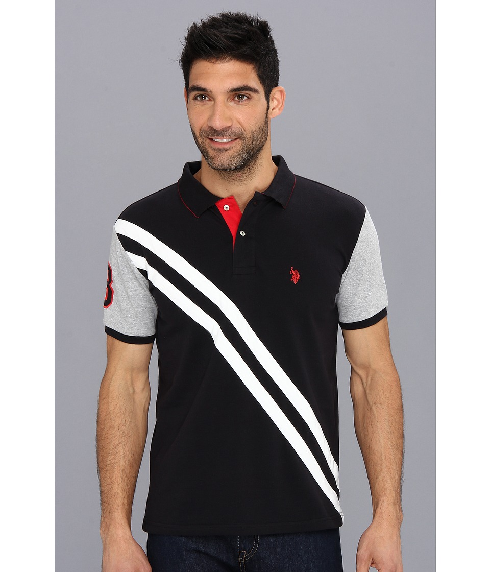 U.S. POLO ASSN. - Small Pony Diagonal Stripe Polo w/ Solid Sleeve (Black) Men