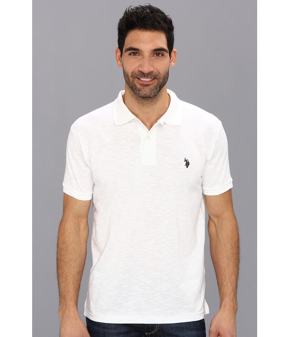 U.S. POLO ASSN. - Solid Slub Polo (White) Men's Short Sleeve Knit