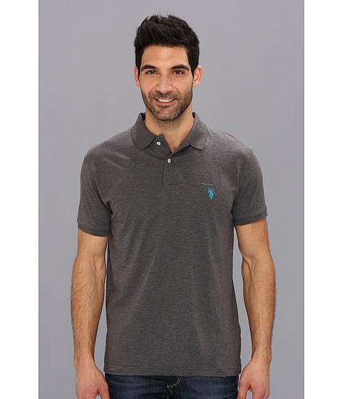 U.S. POLO ASSN. - Solid Slub Polo (Heather Dark Grey) Men's Short Sleeve Knit