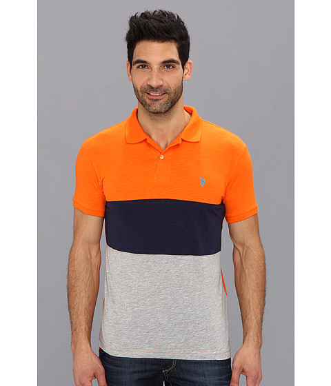 U.S. POLO ASSN. - Wide Stripe Slub Polo (Summer Orange) Men's Short Sleeve Knit