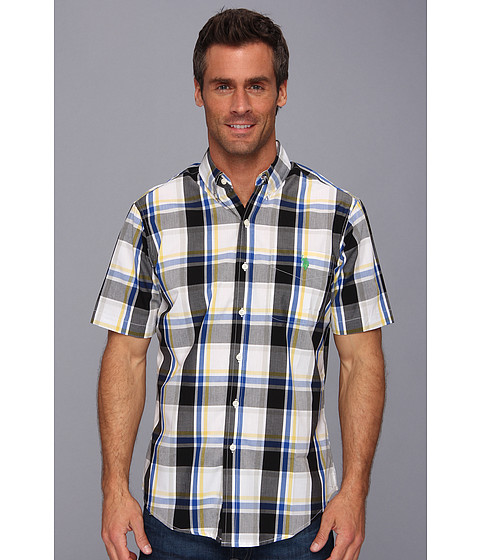 U.S. POLO ASSN. - S/S Woven Large Plaid (Laser Yellow) Men's Short Sleeve Button Up