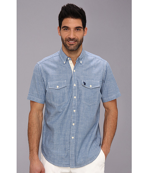 U.S. POLO ASSN. - S/S Solid Canvas w/ Slub (Pale Blue) Men's Short Sleeve Button Up