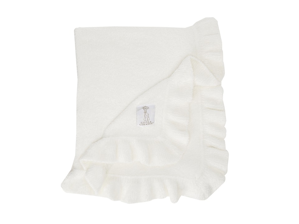 Little Giraffe - Dolce Ruffle Baby Blanket (White) Sheets Bedding