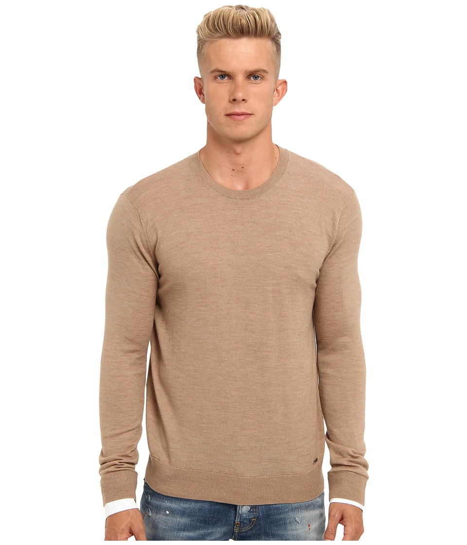 DSQUARED2 - Runway Wool Crewneck Sweater (Camel) Men's Sweater