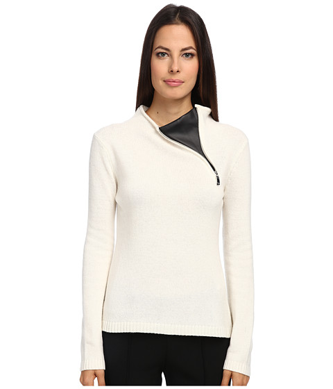 Armani Jeans - Faux Leather Neck Detail Zip Sweater (White) Women