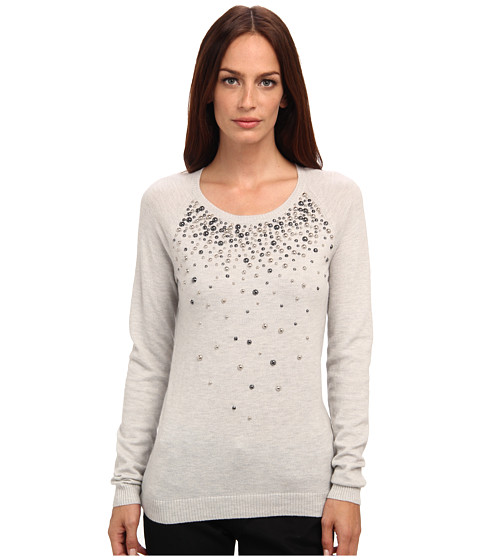 Armani Jeans - Scoop Neck Crystal Crew Neck Cashmere Sweater (Grey) Women's Long Sleeve Pullover