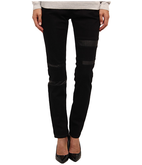 Armani Jeans - Low Rise Super Skinny Eco Leather Denim Pant (Black) Women's Casual Pants