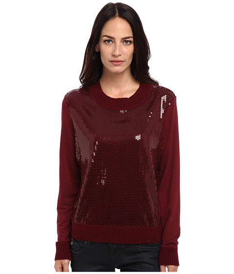 Armani Jeans - Crystal Crew Neck Sweater (Bordeaux) Women's Sweater