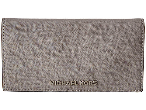 MICHAEL Michael Kors Jet Set Travel LG Slim Wallet (Pearl Grey) Bi-fold Wallet