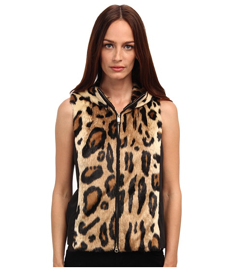 Armani Jeans - Leopard Print Faux Fur and Nylon Vest (Leopard) Women
