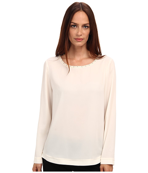 Armani Jeans - Silk Blouse with Crystal Neck Detail (White) Women's Long Sleeve Pullover