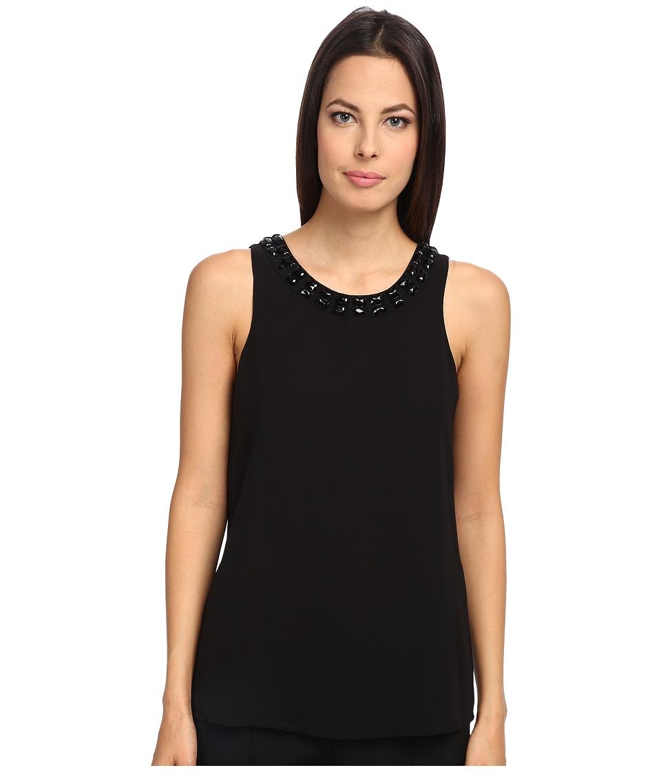 Armani Jeans - Sleeveless Crystal Crew Neck Tank (Black) Women's Sleeveless