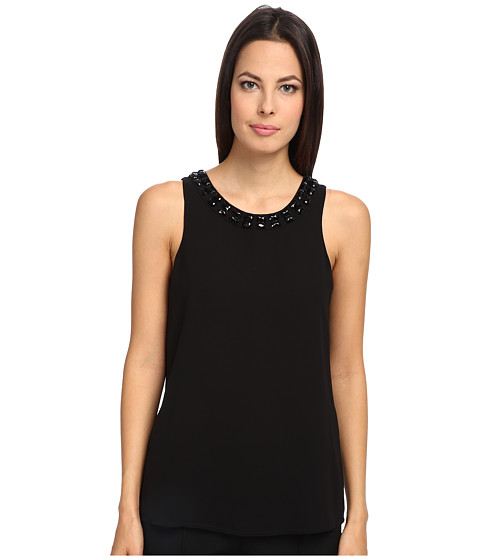 Armani Jeans - Sleeveless Crystal Crew Neck Tank (Black) Women's Sleeveless