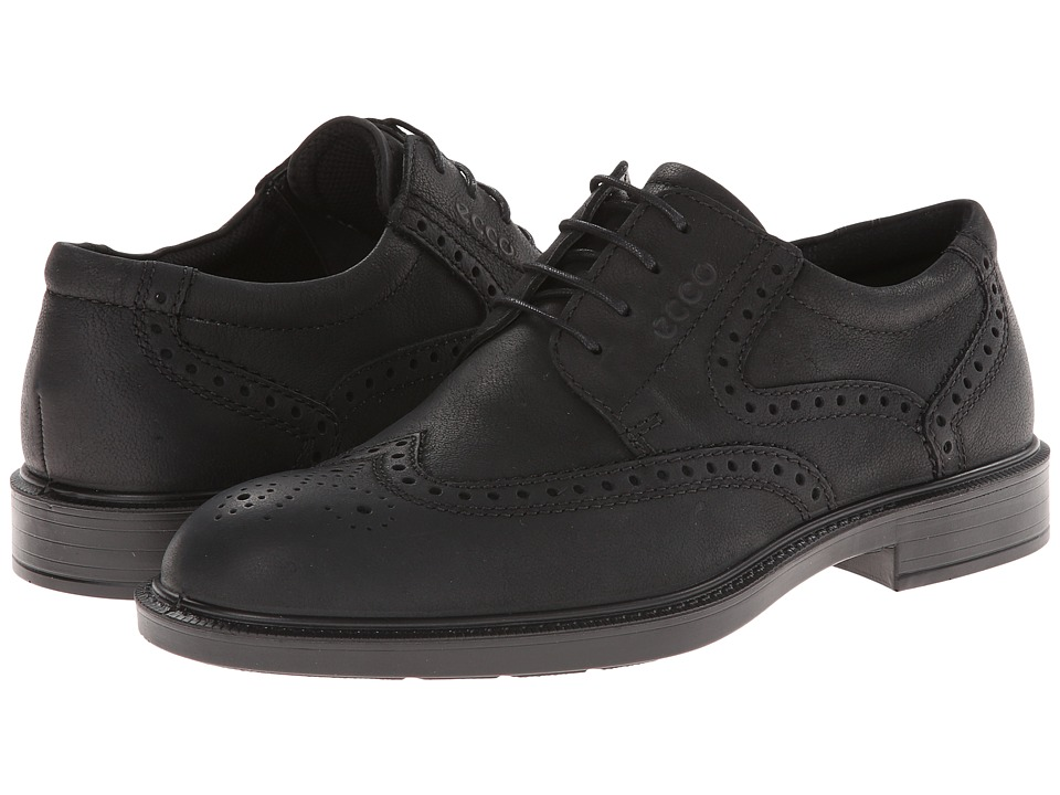 ECCO - Atlanta Wing Tip (Black Antelope) Men's Shoes