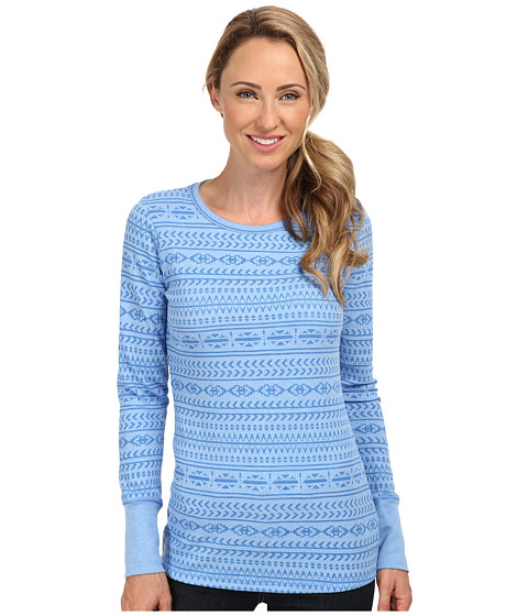 Columbia - Weekday Waffle Burnout Crew (Harbor Blue/Fairisle) Women's Long Sleeve Pullover