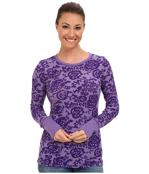 Columbia - Weekday Waffle Burnout Crew (Hyper Purple/Floral) Women's Long Sleeve Pullover