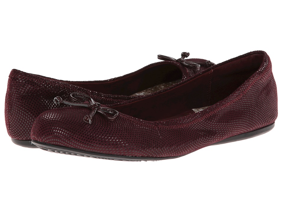 SoftWalk - Narina (Merlot Mini Dot Patent Suede) Women's Flat Shoes
