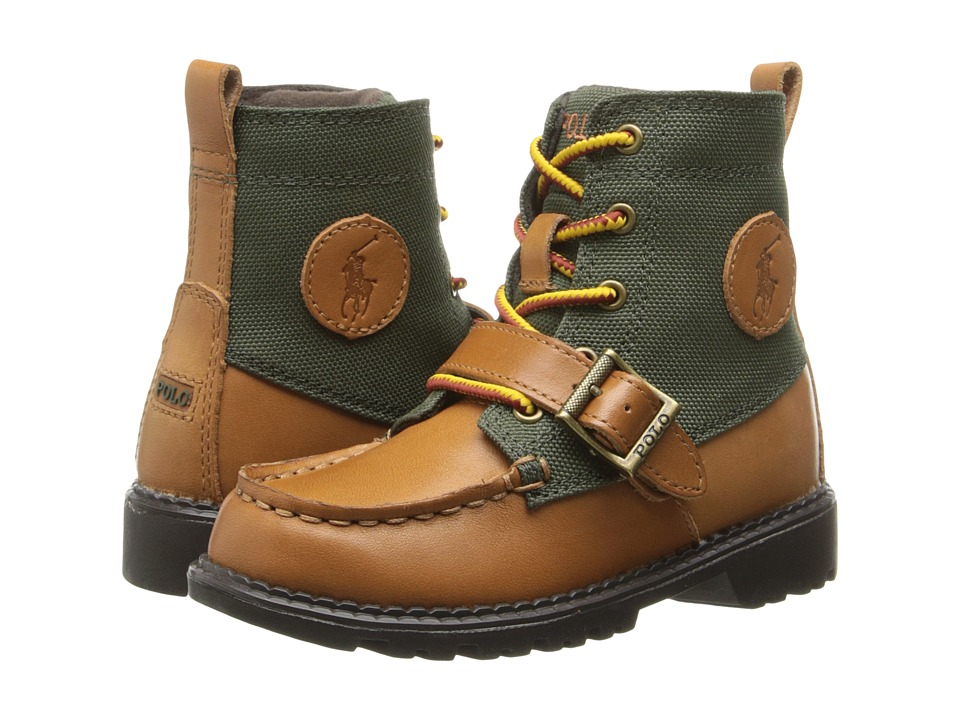 Polo Ralph Lauren Kids - Ranger Hi II (Toddler) (Tan Burnished Leather/Olive Nylon) Boys Shoes