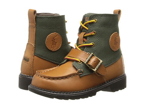 Polo Ralph Lauren Kids - Ranger Hi II (Toddler) (Tan Burnished Leather/Olive Nylon) Boys Shoes
