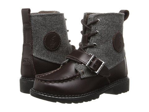 Polo Ralph Lauren Kids - Ranger Hi II (Toddler) (Chocolate Burnished Leather/Grey Wool) Boys Shoes