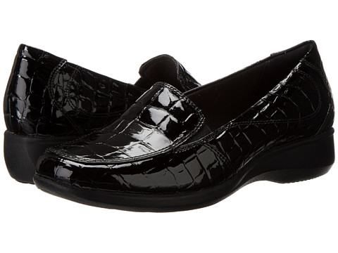 Clarks - Gael Angora (Black Croc) Women's Slip on Shoes