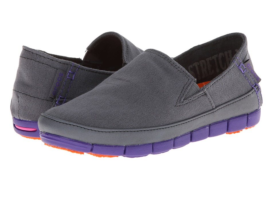 Crocs - Stretch Sole Loafer (Charcoal/Ultraviolet) Women's Slip on Shoes