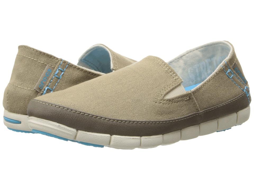 Crocs - Stretch Sole Loafer (Khaki/Stucco) Women's Slip on Shoes