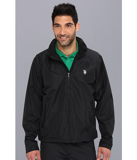 U.S. POLO ASSN. - Fleece Lined Golf Jacket with PU Piping (Black) Men's Jacket