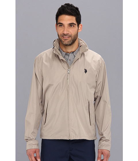 U.S. POLO ASSN. - Fleece Lined Golf Jacket with PU Piping (Thompson Khaki) Men's Jacket