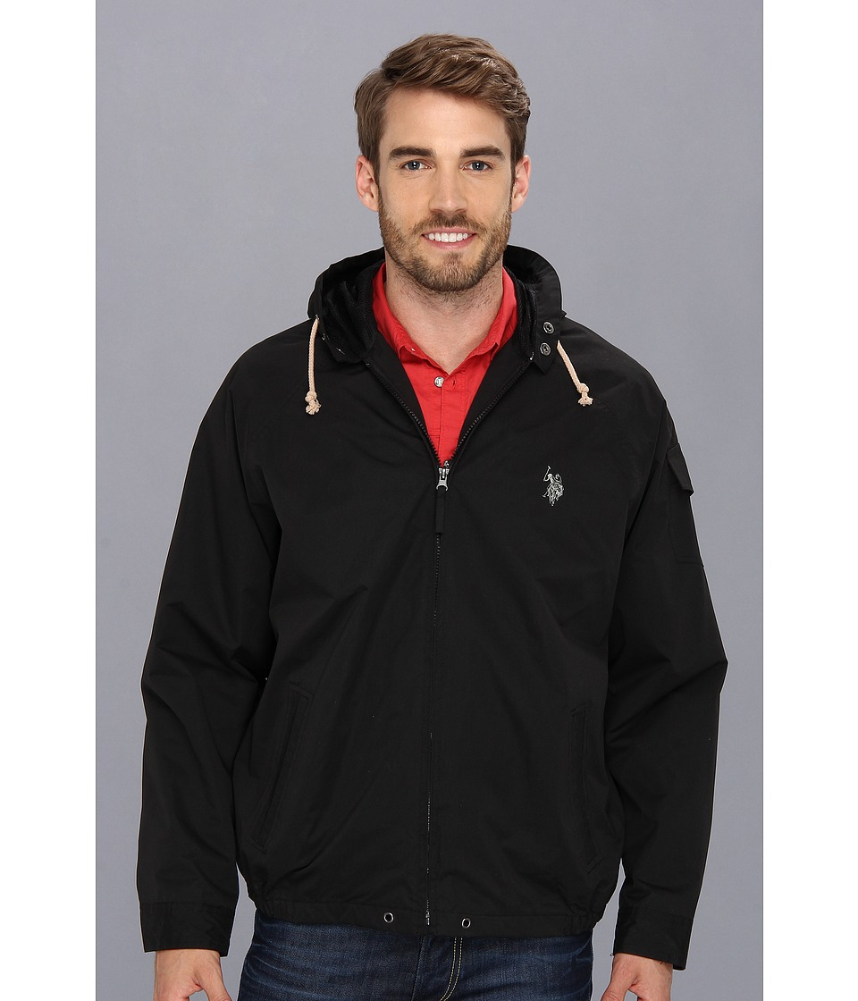 U.S. POLO ASSN. - Hooded Windbreaker (Black) Men's Jacket
