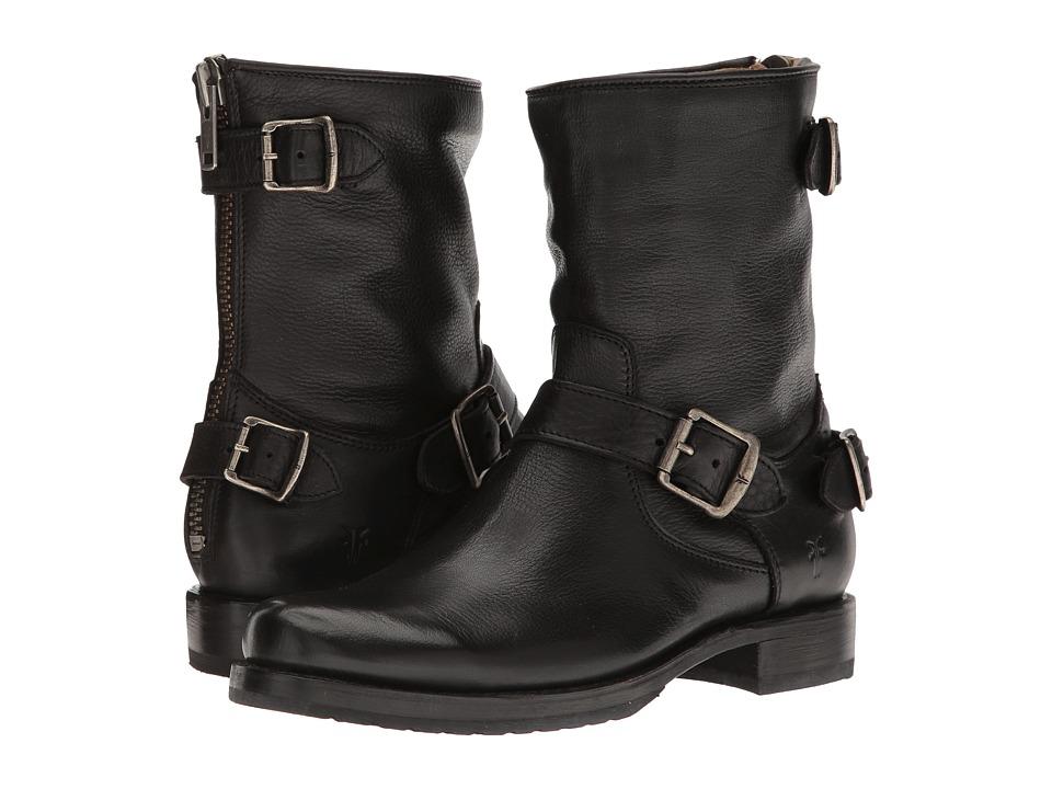 Frye Veronica Back Zip Short (Black Soft Vintage Leather) Cowboy Boots