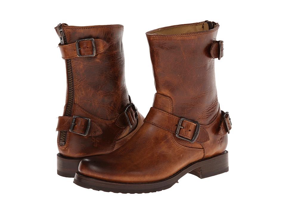 Frye Veronica Back Zip Short (Cognac Antique Pull Up) Cowboy Boots