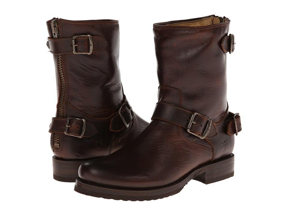 Frye Veronica Back Zip Short (Dark Brown Antique Pull Up) Cowboy Boots