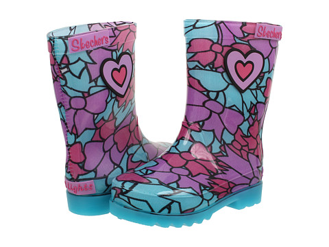 SKECHERS KIDS - Rain Boot Lights 10425N (Toddler/Little Kid) (Turquoise/Multi) Girls Shoes