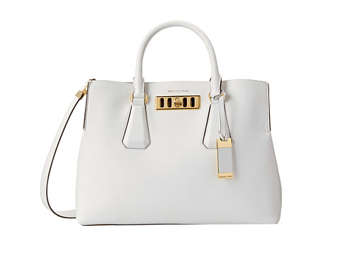Michael Kors Collection Vivian Large Satchel (Optic White) Satchel Handbags
