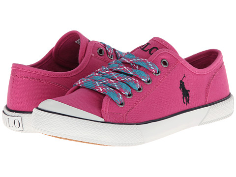 Polo Ralph Lauren Kids - Chaz (Big Kid) (Preppy Pink Canvas w/ Argyle Laces) Girl