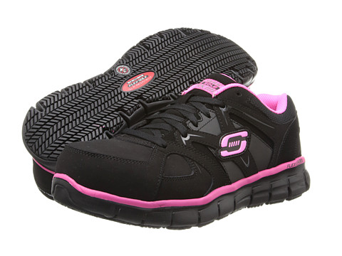 SKECHERS Work - Synergy - Sandlot (Black/Pink) Women's Shoes