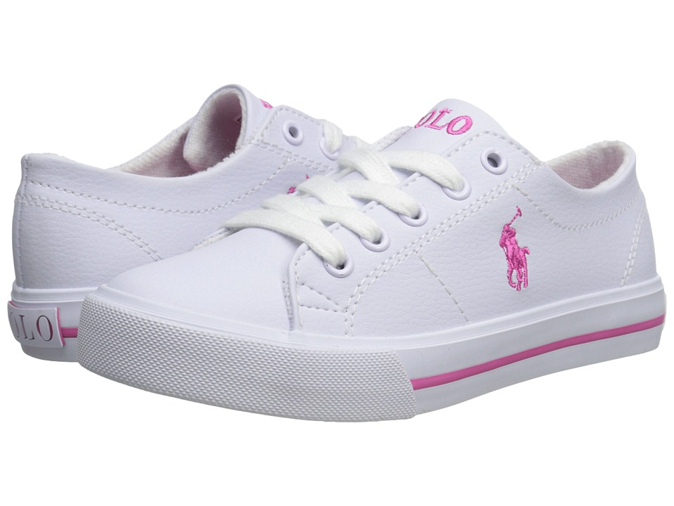 Polo Ralph Lauren Kids - Scholar (Little Kid) (White Tumbled/Pink Pony Player) Boy's Shoes