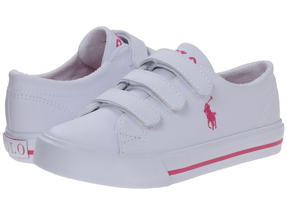 Polo Ralph Lauren Kids - Scholar EZ (Little Kid) (White Tumbled/Pink Pony Player) Boy's Shoes