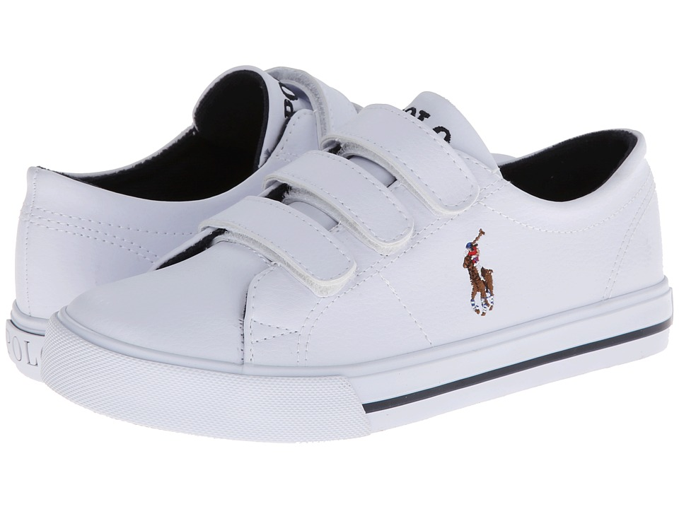 Polo Ralph Lauren Kids - Scholar EZ (Little Kid) (White Tumbled/Multi Pony Player) Boy's Shoes