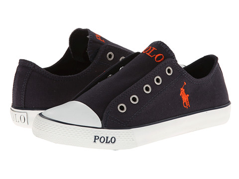 Polo Ralph Lauren Kids - Carson Laceless (Little Kid) (Navy Canvas) Boy's Shoes