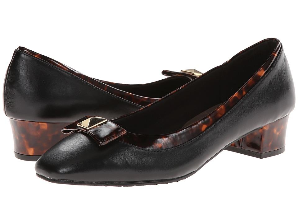 Soft Style - Santel (Black Vitello/Tortoise Collar And Bow) Women's Shoes