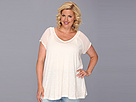 DKNY Jeans Plus Size Mix Media Top (Bashful) Women's Short Sleeve Pullover